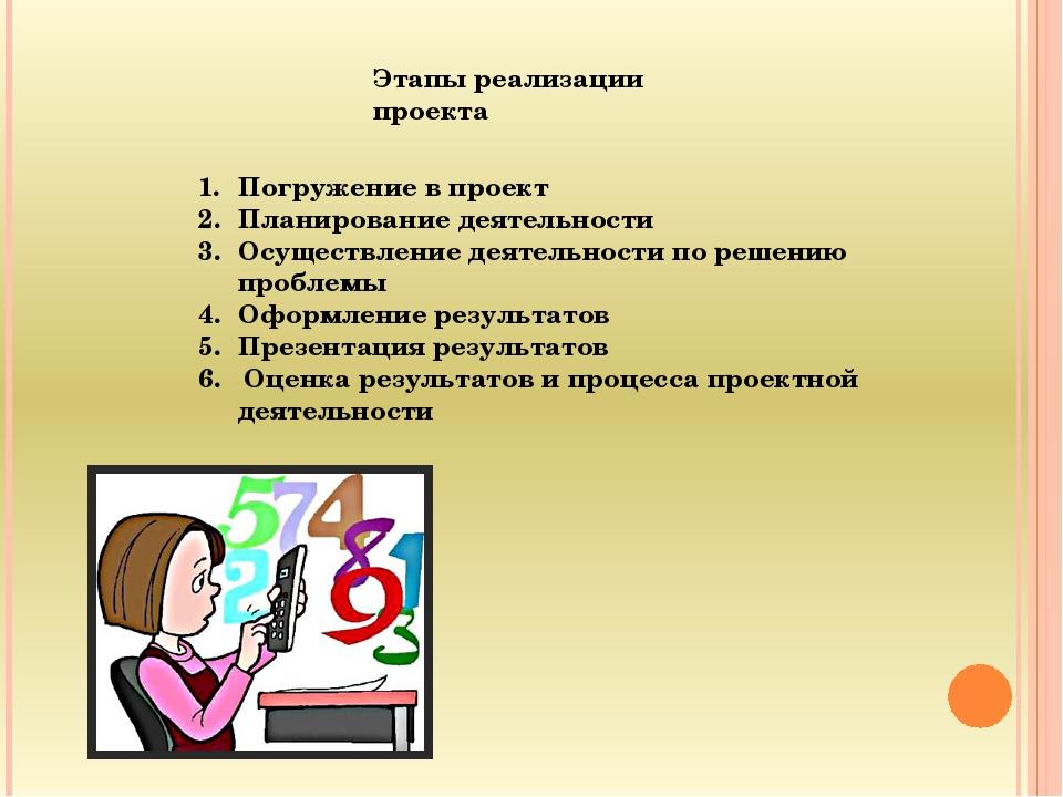 Этапы реализации проекта Погружение в проект Планирование деятельности Осущес...