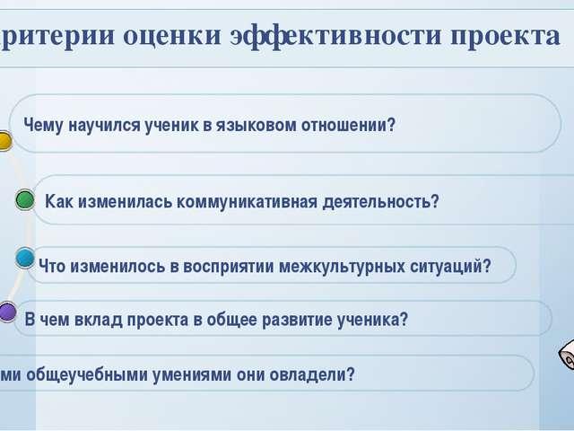 Критерии оценки эффективности проекта Как изменилась коммуникативная деятель...