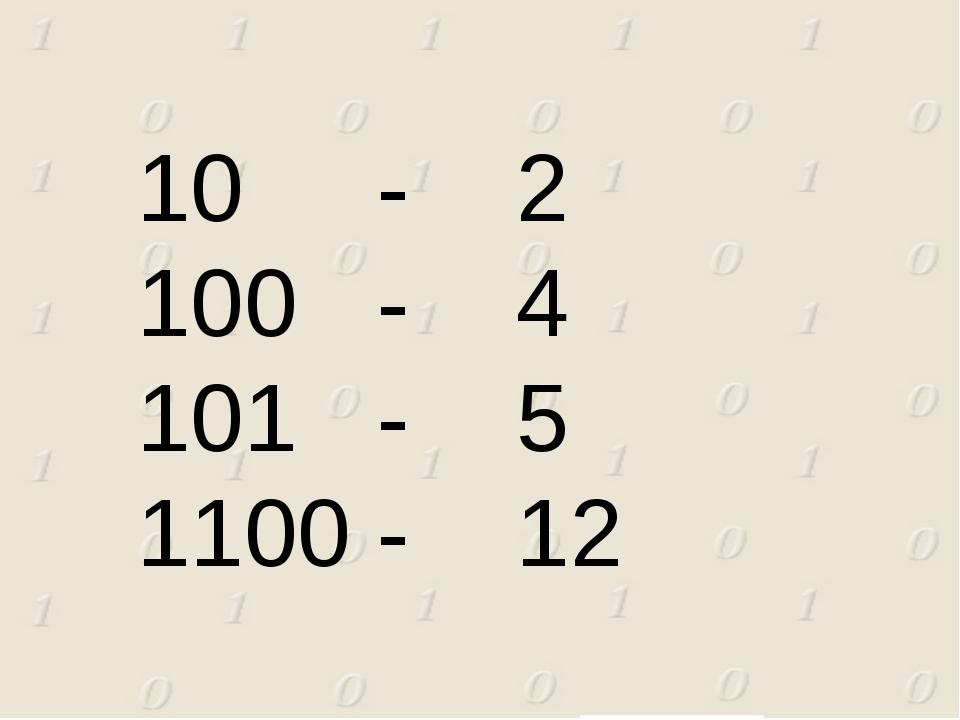 10 - 2 100 - 4 101 - 5 1100 - 12
