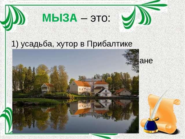 МЫЗА – это: 1) усадьба, хутор в Прибалтике 2) тип двойных маяков в Казахстане...