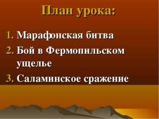 План урока: Марафонская битва Бой в Фермопильском ущелье Саламинское сражение
