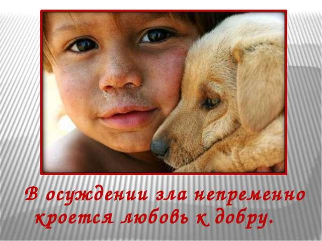 В осуждении зла непременно кроется любовь к добру.