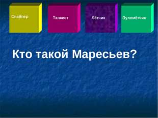 Кто такой Маресьев? Снайпер Танкист Лётчик Пулемётчик