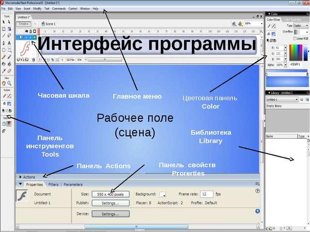 Панель инструментов Tools Главное меню Цветовая панель Color Часовая шкала Би...