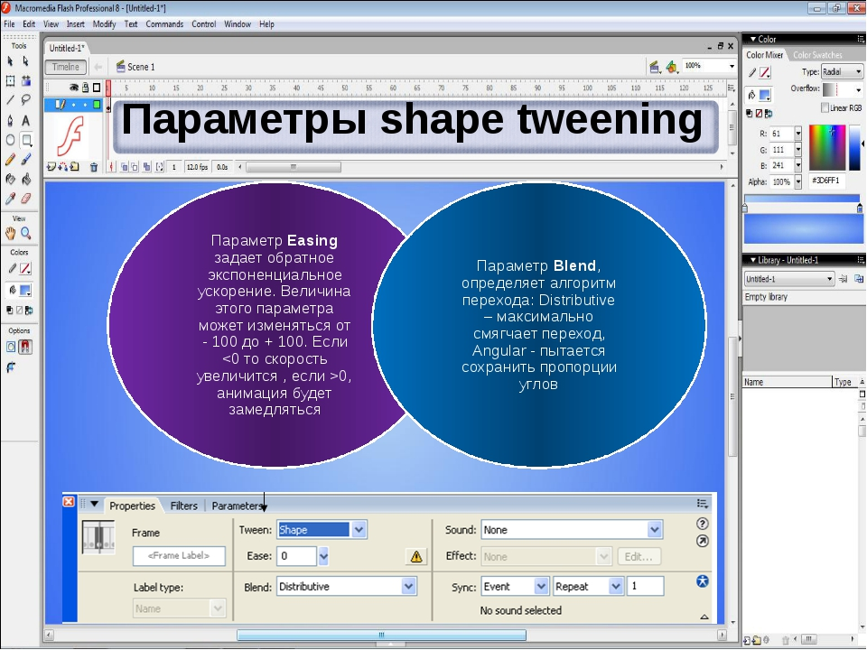 Параметры shape tweening