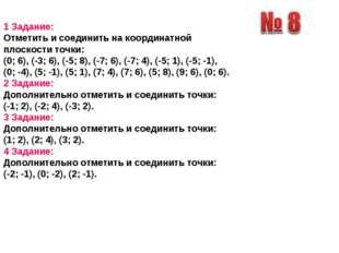 1 Задание: Отметить и соединить на координатной плоскости точки: (0; 6), (-3