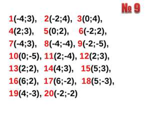 1(-4;3), 2(-2;4), 3(0;4), 4(2;3), 5(0;2), 6(-2;2), 7(-4;3), 8(-4;-4), 9(-2;-5