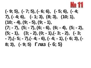 (- 9; 5), (- 7; 5), (- 6; 6), (- 5; 6), (- 4; 7), (- 4; 6), (- 1; 3), (8; 3),