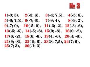 1(-3; 5), 2(-3; 6), 3(-4; 7,5), 4(-5; 6), 5(-6; 7,5), 6(-7; 6), 7(-9; 4), 8(-