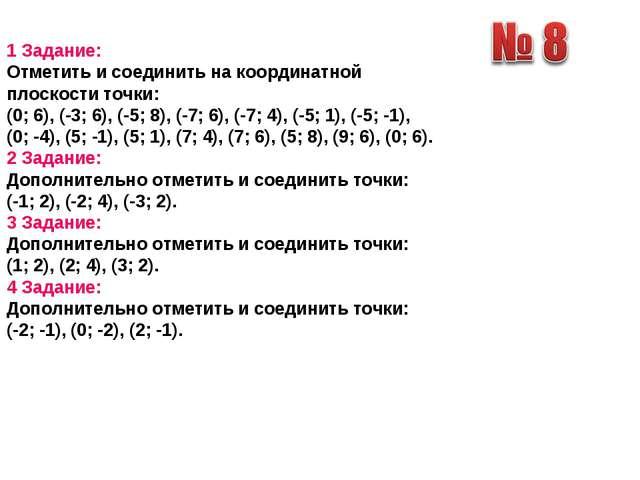 1 Задание: Отметить и соединить на координатной плоскости точки: (0; 6), (-3...