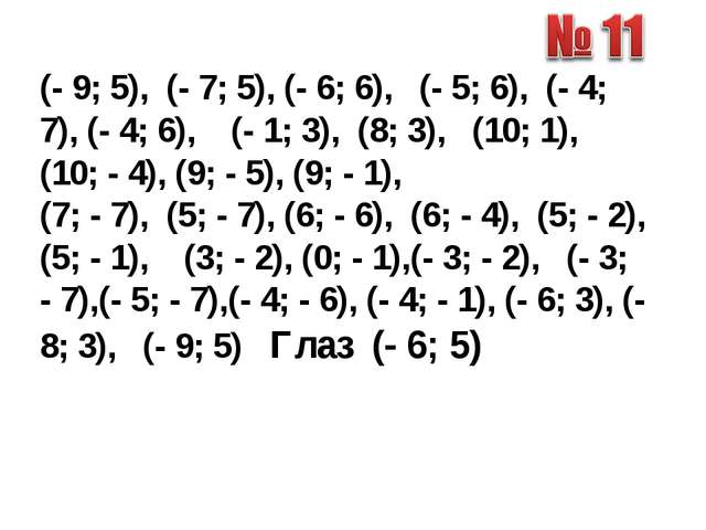 (- 9; 5), (- 7; 5), (- 6; 6), (- 5; 6), (- 4; 7), (- 4; 6), (- 1; 3), (8; 3),...
