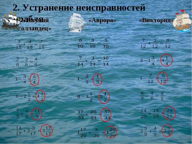 2. Устранение неисправностей корабля   «Летучий голландец» «Аврора»«Ви...