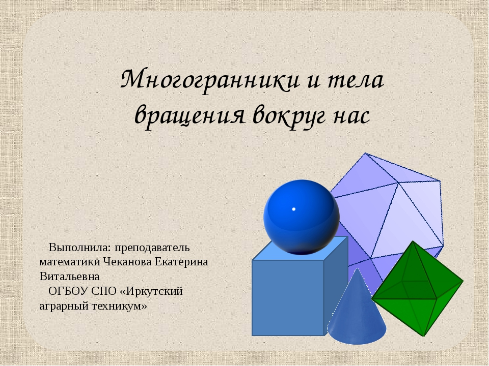 Многогранники и тела вращения вокруг нас Выполнила: преподаватель математики...