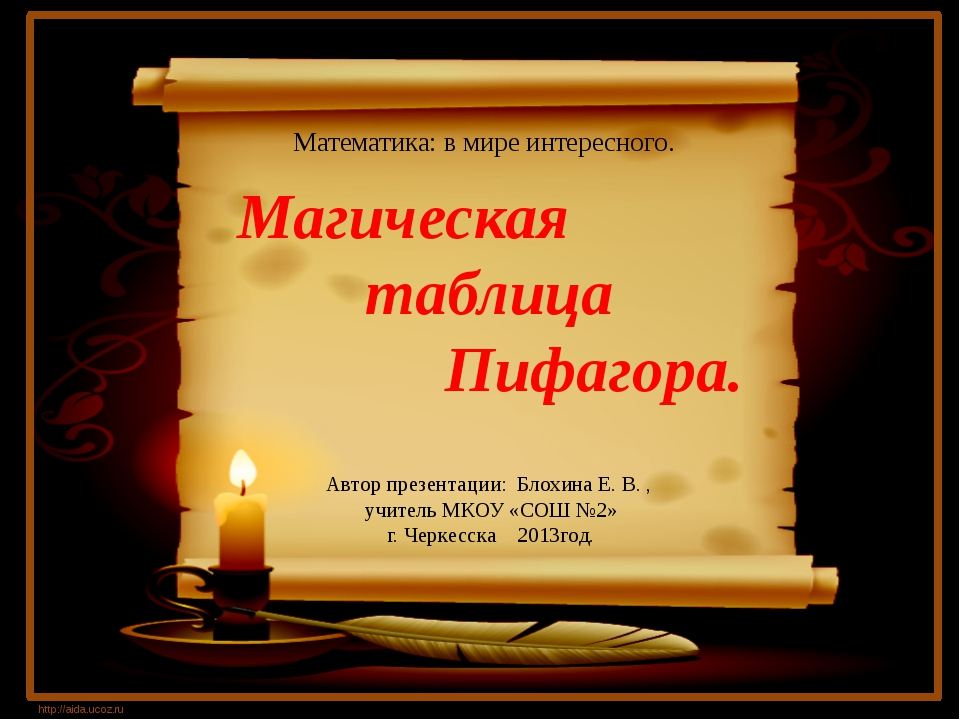 Магическая таблица Пифагора. http://aida.ucoz.ru Математика: в мире интересн...