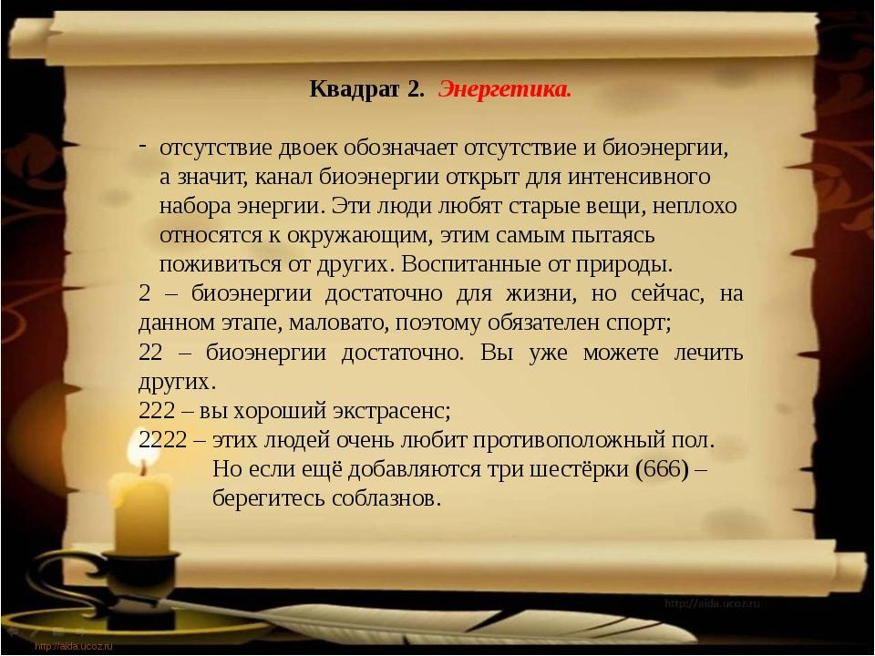 http://aida.ucoz.ru Квадрат 2. Энергетика. отсутствие двоек обозначает отсут...