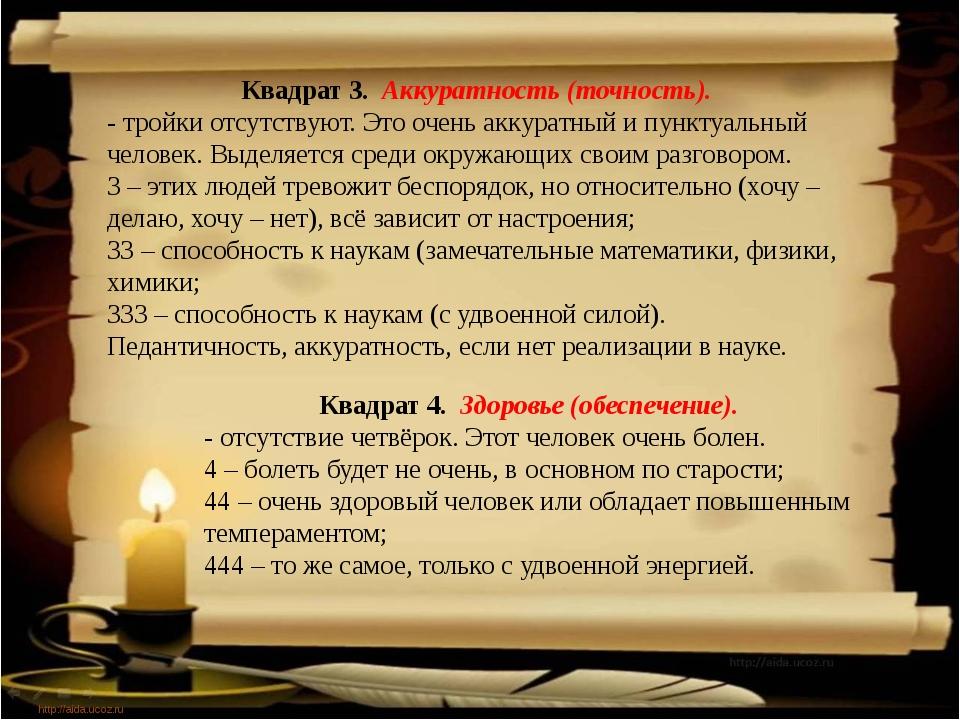 http://aida.ucoz.ru Квадрат 3. Аккуратность (точность). - тройки отсутствуют...