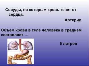 Сосуды, по которым кровь течет от сердца. Артерии Объем крови в теле человека