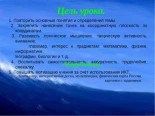 Цель урока. 1. Повторить основные понятия и определения темы. 2. Закрепить н