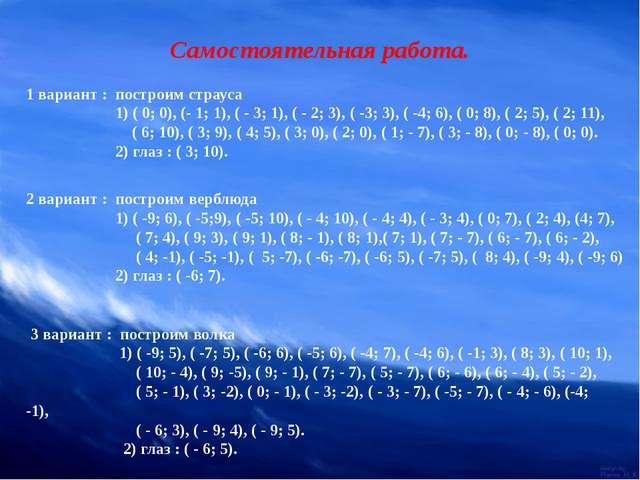 Самостоятельная работа. 1 вариант : построим страуса 1) ( 0; 0), (- 1; 1), (...