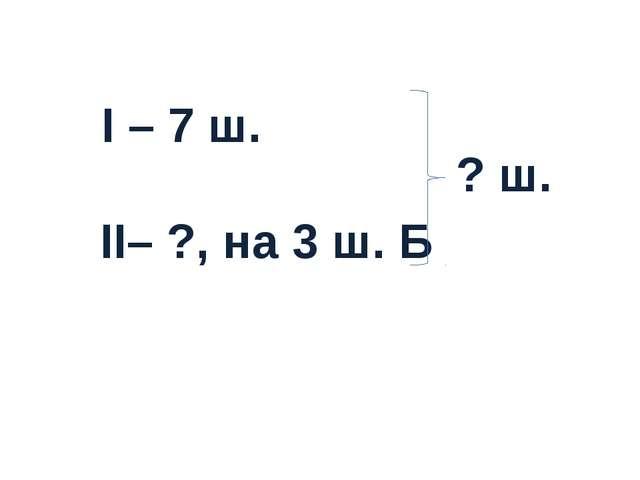 I – 7 ш. II– ?, на 3 ш. Б ? ш.