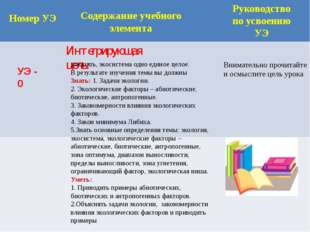 Номер УЭ Содержание учебного элемента Руководство по усвоению УЭ УЭ - 0 Инте