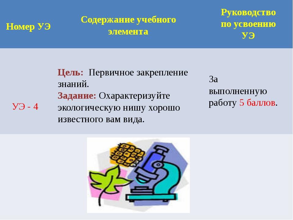 Номер УЭ Содержание учебного элемента Руководство по усвоению УЭ УЭ - 4 Цель:...