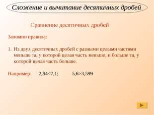 Сложение и вычитание десятичных дробей Сравнение десятичных дробей Запомни пр