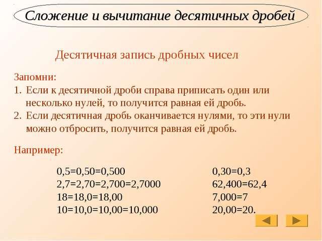Сложение и вычитание десятичных дробей Десятичная запись дробных чисел Запомн...