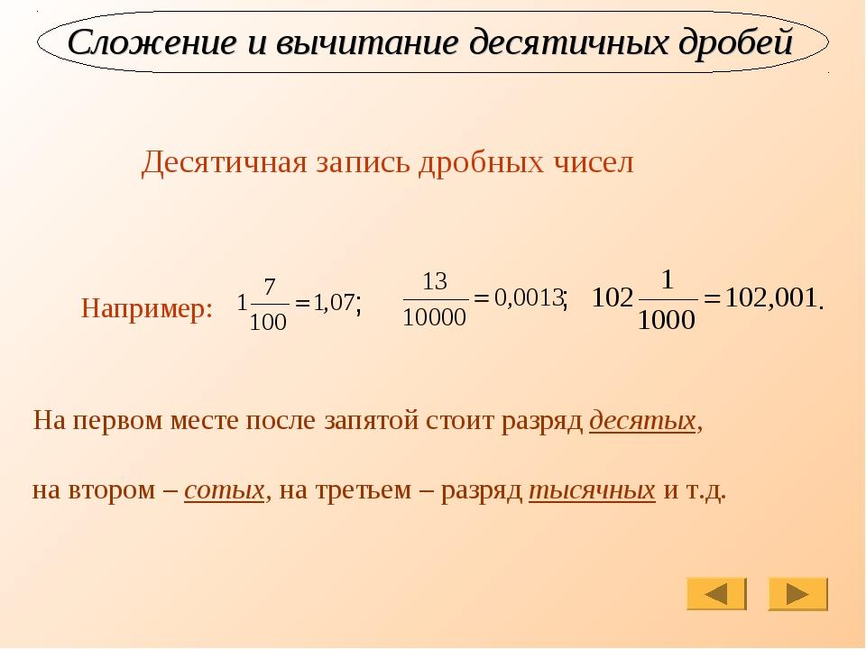 Сложение и вычитание десятичных дробей Например: ; ; . На первом месте после...