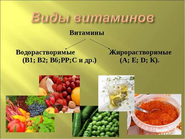 Витамины Водорастворимые Жирорастворимые (В1; В2; В6;РР;С и др.) (А; Е; D; К).