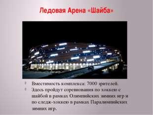 Ледовая Арена «Шайба» Вместимость комплекса: 7000 зрителей. Здесь пройдут сор