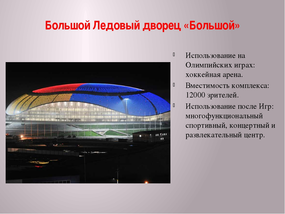 Большой Ледовый дворец «Большой» Использование на Олимпийских играх: хоккейна...
