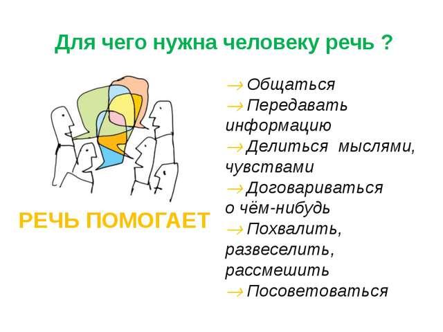 Для чего нужна человеку речь ? © InfoUrok.ru  Общаться  Передавать информа...
