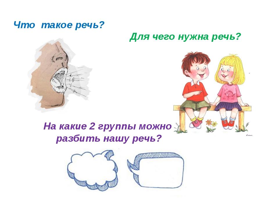 © InfoUrok.ru Что такое речь? Для чего нужна речь? На какие 2 группы можно ра...