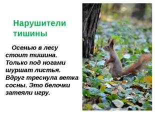 © InfoUrok.ru Осенью в лесу стоит тишина. Только под ногами шуршат листья. В