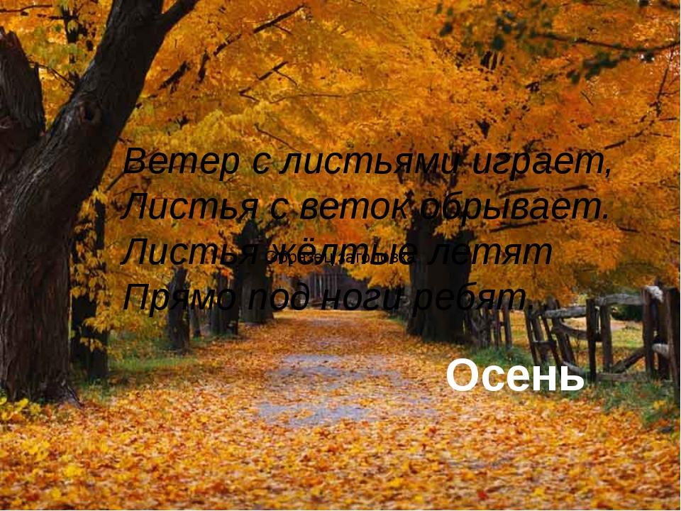 © InfoUrok.ru Ветер с листьями играет, Листья с веток обрывает. Листья жёлтые...