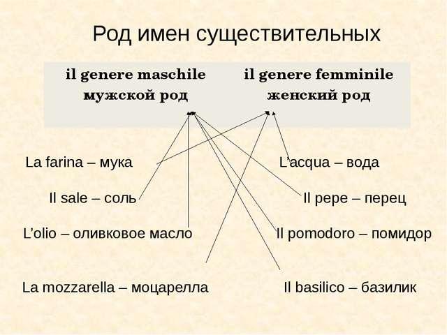 Род имен существительных La farina – мука L'acqua – вода Il sale – соль Il pe...