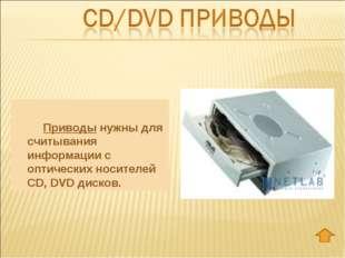 Приводы нужны для считывания информации с оптических носителей CD, DVD диск
