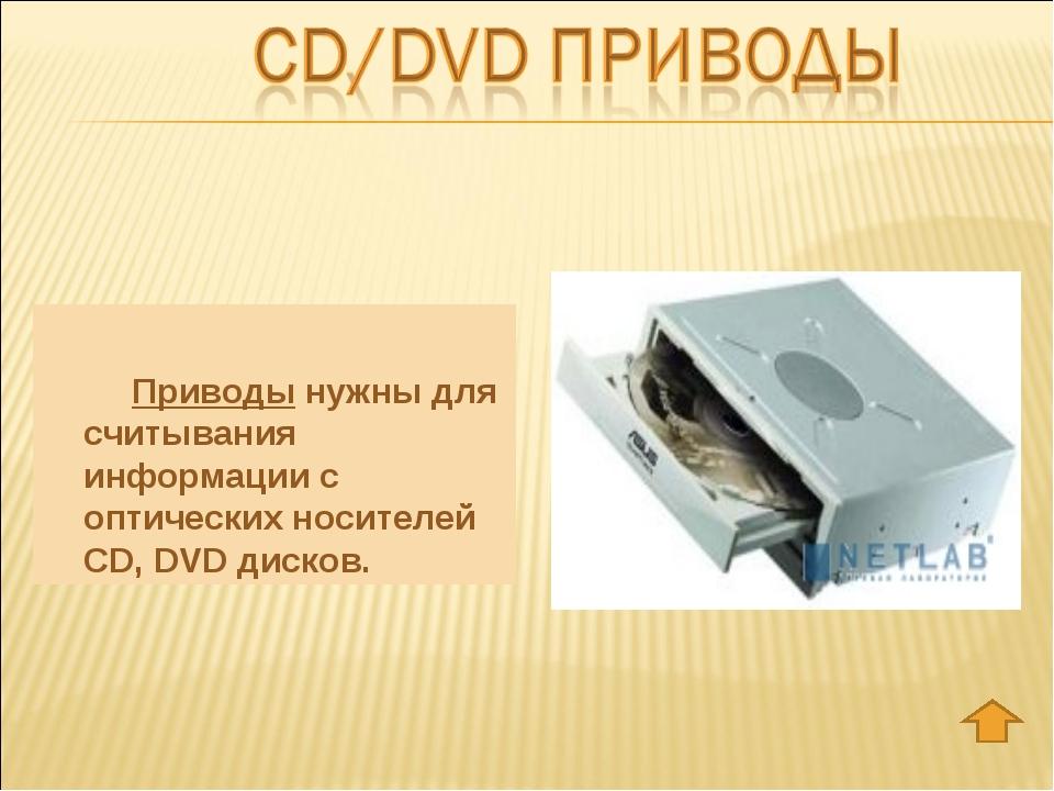 Приводы нужны для считывания информации с оптических носителей CD, DVD диск...