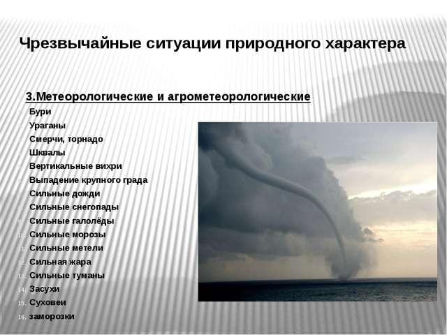 Чрезвычайные ситуации природного характера 3.Метеорологические и агрометеорол...