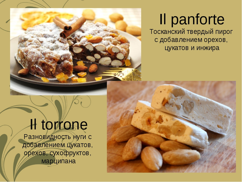 Il torrone Разновидность нуги с добавлением цукатов, орехов, сухофруктов, мар...