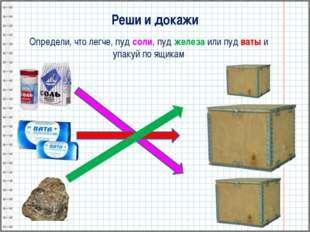Реши и докажи Определи, что легче, пуд соли, пуд железа или пуд ваты и упакуй