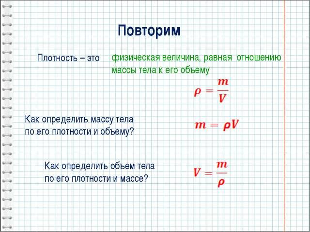 Повторим Плотность – это Как определить массу тела по его плотности и объему...