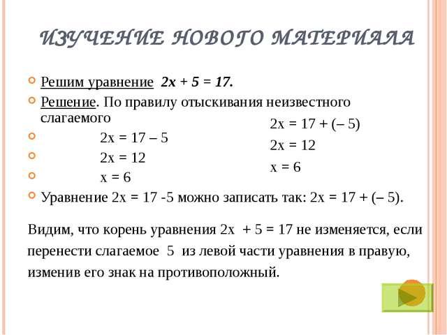 ИЗУЧЕНИЕ НОВОГО МАТЕРИАЛА Решим уравнение 2х + 5 = 17. Решение. По правилу от...