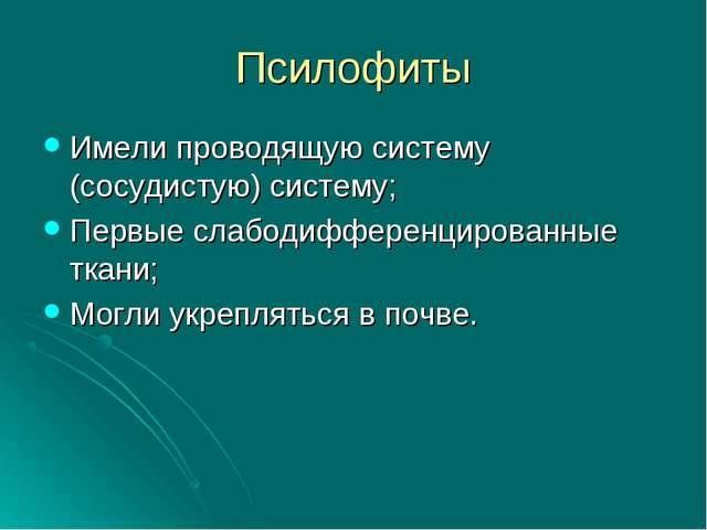 Псилофиты Имели проводящую систему (сосудистую) систему; Первые слабодифферен...