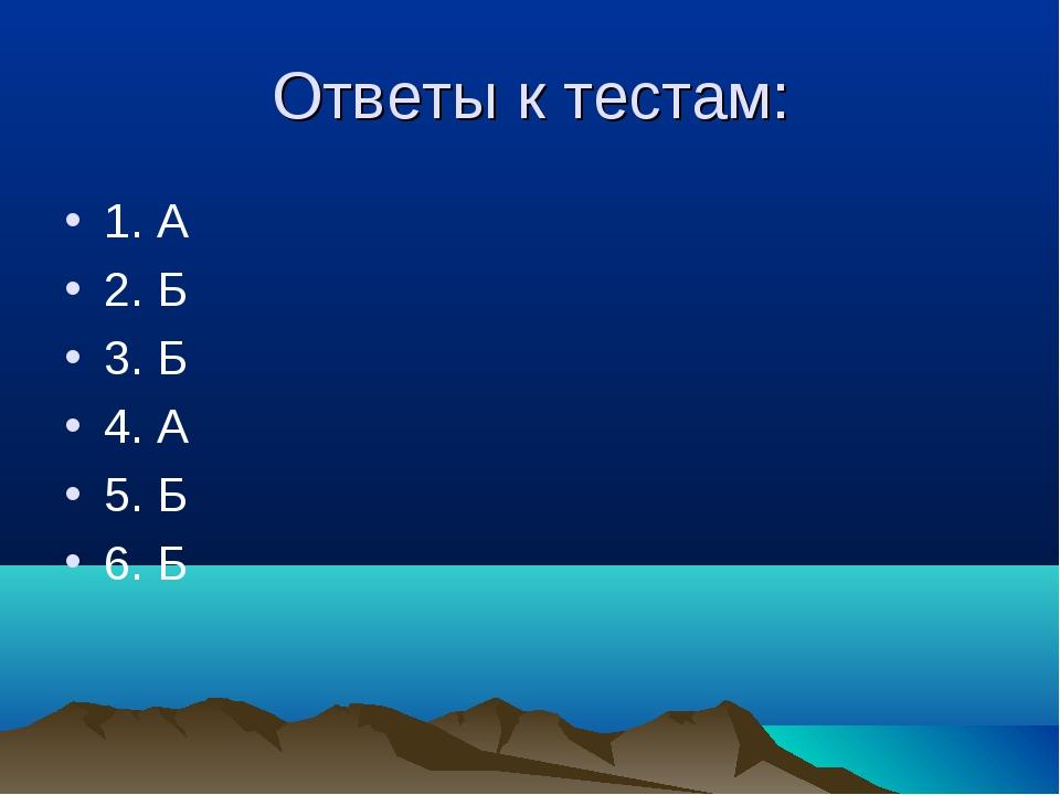 Ответы к тестам: 1. А 2. Б 3. Б 4. А 5. Б 6. Б