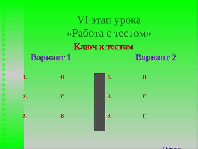 VI этап урока «Работа с тестом» Ключ к тестам Вариант 1 Вариант 2 Оценки 1.В...