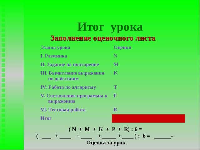 Итог урока Заполнение оценочного листа ( N + M + K + P + R) : 6 = ( ___ + ___...