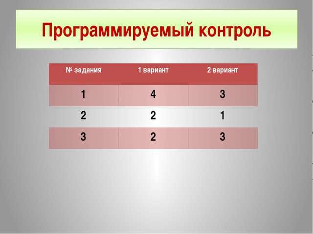 Программируемый контроль №задания 1 вариант 2 вариант 1 4 3 2 2 1 3 2 3