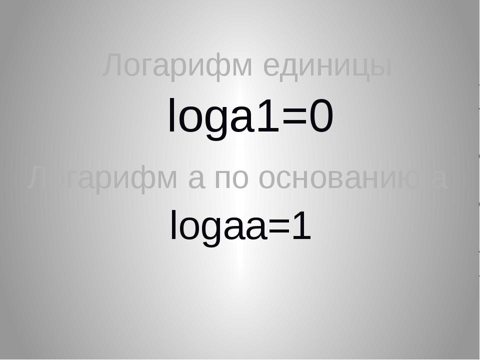 loga1=0 Логарифм единицы logaa=1 Логарифм а по основанию а